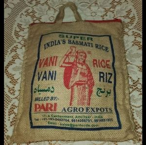 India's Basmati Rice Bag Burlap Purse Red Zipper